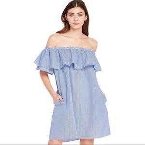 ZARA | Off Shoulder Pinstripe Dress